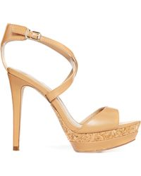 Mango Platform Cross Strap Heeled Sandals - Lyst