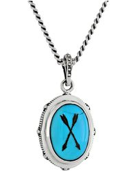 King Baby Studio Oval Bezel Pendant Necklace W Etched Arrows On Turquoise Stone - Lyst
