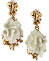 Oscar de la Renta Ivory Coral Clip-On Earrings - Lyst