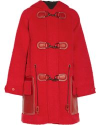Coach Hooded Textured-felt Duffle Coat - Lyst