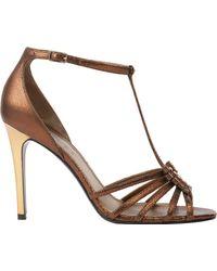 Lanvin Metallic Nailhead Tstrap Sandals - Lyst