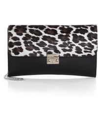 Furla Exclusively For Saks Fifth Avenue Elektra Leopard-Print Calf Hair & Leather Clutch - Lyst