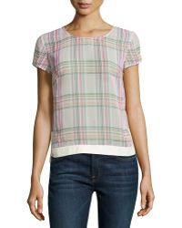 J Brand Sheer Plaid Blouse - Lyst