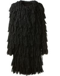 Lanvin Black Coat in Artisanal Fringed Tweed - Lyst