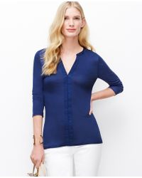 Ann Taylor Petite Split Neck 3/4 Sleeve Top blue - Lyst