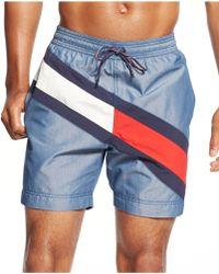 Tommy Hilfiger Logo Stripe Swim Trunks blue - Lyst