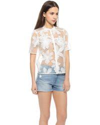 Rebecca Taylor Floral Camp Shirt - Canvas/Cream - Lyst