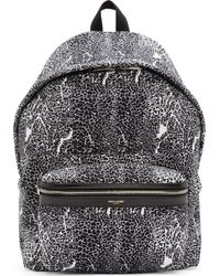 Saint Laurent Black And White Canvas Hunting Backpack - Lyst