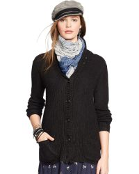 Denim & Supply Ralph Lauren Black Shawl-Collar Cardigan - Lyst