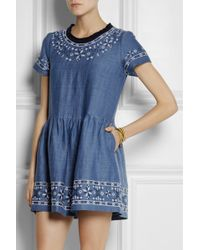 Sea Embroidered Cottonchambray Mini Dress - Lyst