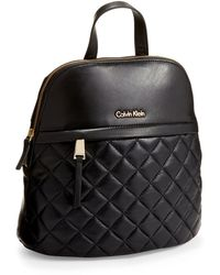 Calvin Klein Quilted Leather Backpack - Lyst