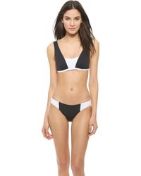 Zero + Maria Cornejo Block Bikini Top - Black/White black - Lyst