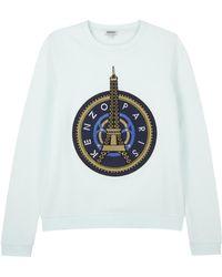 KENZO - Aqua Eiffel Tower Appliqué Cotton Sweatshirt - Lyst
