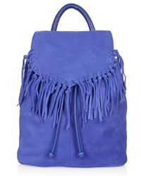 Topshop Women'S Suede Fringe Leather Backpack - Blue - Lyst