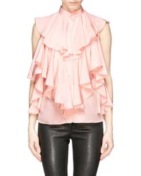 Alexander McQueen Ruffle Front Crepe De Chine Blouse pink - Lyst