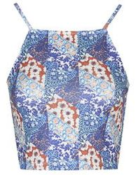 Topshop Tall Patchwork Floral Print Crop Top - Lyst