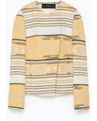 Zara Jacquard Pattern Crossover Blazer multicolor - Lyst