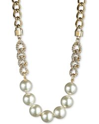Givenchy 10k Goldplated Glass Pearl and Swarovski Crystal Chain Frontal Necklace - Lyst