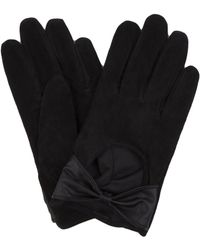 AKIRA - Suede Bow Gloves - Black - Lyst