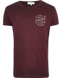 River Island Dark Red Deluxe Motorcycle Print T-shirt - Lyst
