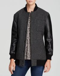 Current/Elliott Jacket  The Standwood Leather Sleeve Bomber - Lyst