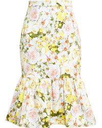 Isolda Frilled Floral Midi Skirt - Lyst