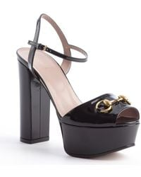 Gucci Black Patent Leather Horsebit Platform Sandals - Lyst