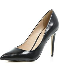 River Island Black Leather Court Shoes black - Lyst