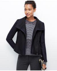 Ann Taylor Felted Wool Moto Jacket - Lyst