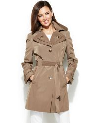 Calvin Klein Petite Hooded Layered-Lapel Trench Coat - Lyst