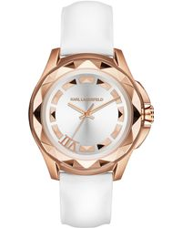 Karl Lagerfeld Iconic White Leather Ladies Watch - Lyst