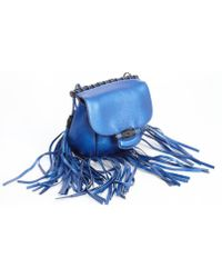 Gucci Metallic Blue Leather Nouveau Fringe Shoulder Bag - Lyst
