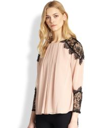 Alice + Olivia Danyelle Silk Lacepaneled Blouse - Lyst