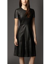 Burberry Lambskin Pleated Skirt Dress - Lyst