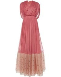 Delpozo Silk Tulle Draped Gown - Lyst