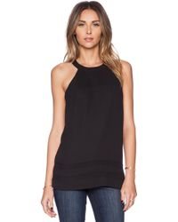 Sam Edelman Sheer Inset Tank with Zip Back - Lyst