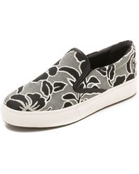 Belle By Sigerson Morrison | Saras Slip On Sneakers - Grey/Milk | Lyst