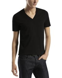 Gucci Vneck Tee with Logoback - Lyst