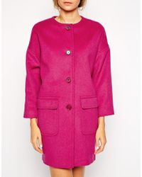 Helene Berman Collarless Coat pink - Lyst