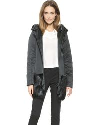 Vera Wang Collection - Satin Parka with Beaver Trim Black - Lyst
