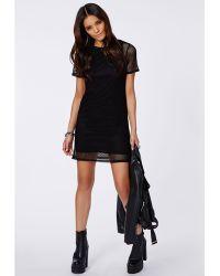 Missguided Estha Fishnet Overlay T-Shirt Dress Black - Lyst