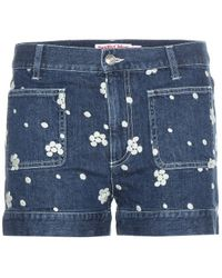 See By Chloé Embroidered Denim Shorts - Lyst