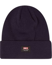 Obey Quality Dissent Beanie Hat Navy - Lyst