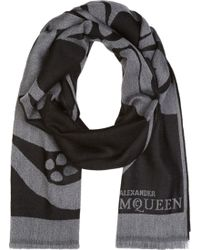 Alexander McQueen Gray and Black Wool Oversized Tulip and Skull Scarf - Lyst