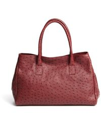 Furla Burgundy Ostrich Embossed New Appaloosa Shopper Tote - Lyst