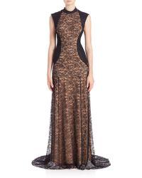 Haute Hippie | Suede-detail Lace Gown | Lyst