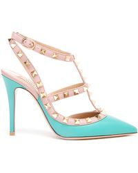 Valentino Rockstud Leather Heels - Lyst