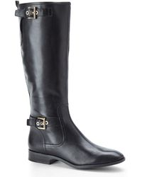 Nine West Black Bring It Riding Boots - Lyst