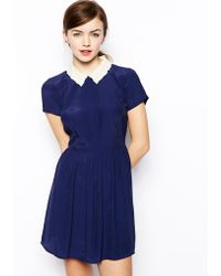 Asos Skater Dress with Cutwork and Embroidered Collar - Lyst
