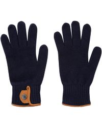 Oliver Spencer - Navy Melange Leather Trim Woolblend Gloves - Lyst